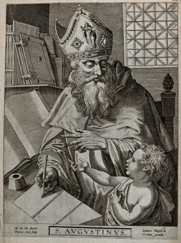V0031645 Saint Augustine of Hippo. Line engraving by P. Cool after M.